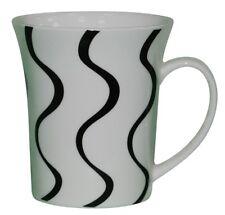 Set of 6 Large Mugs Coffee & Tea Mugs 300ml White & Black Swirl Flared Mugs