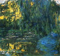 Claude Monet Weeping Willow And Water Poster Reproduction Giclee Canvas Print