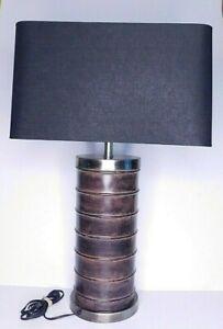 Saddle Stitched Gainsborough Leather Wrapped Barrel Lamp English Style Office