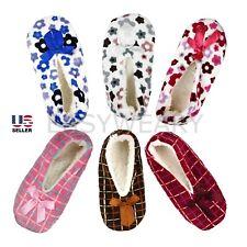 Women Fuzzy Warm Soft Fleece Lined Non-Slip Ballet Slippers Socks Shoes Size 6-9