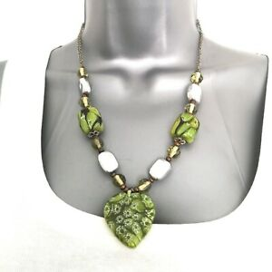 Vintage Green Glass Metal Beaded Necklace Heart Pendant Hook and Eye Silver Tone
