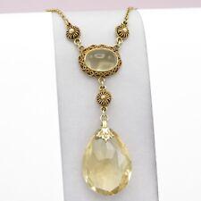 Vtg  Arts & Crafts Sterling Silver Filigree Natural Citrine Pendant Necklace