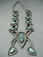 RARE VINTAGE NAVAJO CANDELARIA TURQUOISE STERLING SILVER SQUASH BLOSSOM NECKLACE