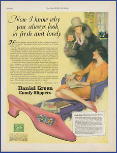 Vintage 1927 DANIEL GREEN Comfy Slippers Women's House Shoes 20's Print Ad