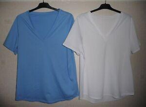 2 Pack Of Ladies Ex-Marks & Spencer Blue & White V-neck Cotton Tops Sizes: S & M