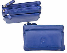 Prime Hide Luxury Large Blue Leather Double Zip Top Coin Purse with Key Chain