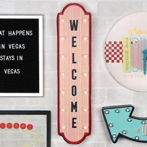 Welcome Light Up Sign Retro Home Decor New In Box Large Size 60cm