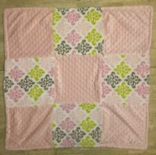 Blankets & And Beyond Baby Blanket Pink Grey Green Square Damask Plush Lovey 12