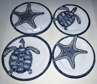 Coastal Melamine Salad Plates SEA TURTLE /STARFISH Set of 4
