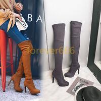 Schick Schuhe Boots Overkneestiefel Damenschuhe High Heel Faux-wildleder Trend