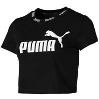 Puma Amplified Womens Ladies Sports Fashion Cropped T-Shirt Black - UK 8
