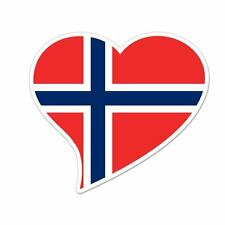 "Norway Flag Heart car window bumper sticker decal 5"" x 3"""