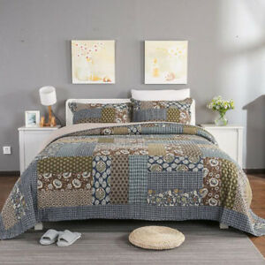 Foral Quilted Patchwork Super King Size Bedspreads Set Coverlets Bed Cover Throw