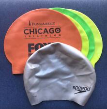 LOT 5 Swim Caps, Includes 1 Speedo Silicone Long Hair Swim Cap