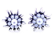 Vintage style antique silver coloured pearl daisy / plum flower earrings