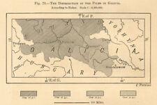 Proportion of Poles in Galicia. Poland Ukraine. Krakow Lviv. Sketch map 1885