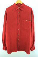 Paul & Shark Men's Shirt Size 41 XL Red Long Sleeve Linen Casual Shirt CD1405