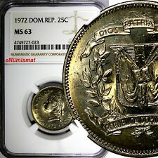DOMINICAN REPUBLIC 1972 25 Centavos NGC MS63 Mintage-800,000 KM# 20a.1