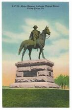 Vintage Pennsylvania Linen Postcard Valley Forge Major General Wayne Statue