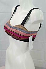 ATHLETA womens/jrs purple multicolor striped swim bikini top size 32D/DD NWT