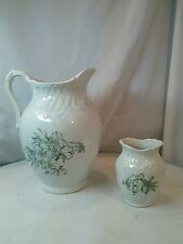 Vtg Ursilla Ironstone Stoneware Art Deco Antique Water Pitcher Vase 2PC SET
