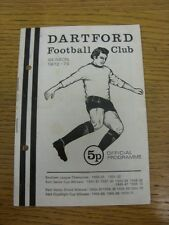 20/03/1973 Dartford v Bedford Town  (Creased. Light Marking, Punched Holes, Team