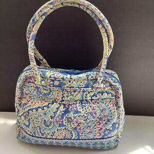 Vera Bradley Capri Blue Paisley Bowler Bag Handbag Quilted Purse Lots of Pocket