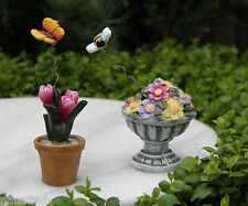 Miniature Dollhouse FAIRY GARDEN ~ EASTER Bunny Trail ~ Set of 2 Flower Pots NEW