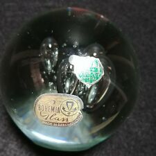 Bohemia Czech Glass Paperweight Clear Bubbles Tags Art Cut Crystal