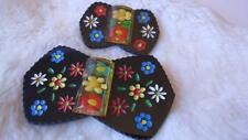 Vintage Black Bakelite Apple Juice Painted Edelweiss Flowers Belt Buckle Brooch