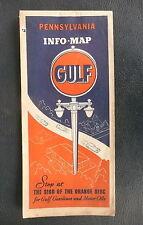 1939 Pennsylvania road map Gulf oil gas Philadelphia Pittsburg insert