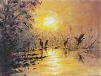 ACEO sunset  birds landscape original oil canvas painting art card