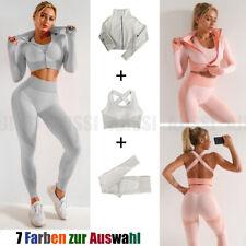 3pcs Set Damen Yoga Reißverschluss Crop Top Sportanzug Hose Gym Trainingsanzug