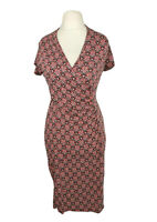 Monsoon Red Shell Print Stretch Smart Party Wiggle Pencil Dress Size 10
