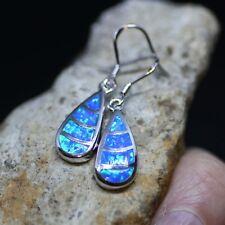 Blue Opal Earrings Sterling Silver 925 , October Birthstone , Tear Drop Earrings