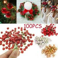 100x Red Berries Christams Ornaments Branches Artificial Flowers Xmas tree Decor