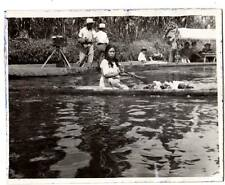 vintage image native Mexican woman dug out canoe selling produce photographer #