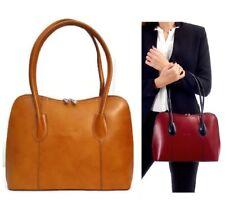 Ladies Leather Handbag Tan Vera Pelle Classic Italian Shoulder Tote Bag