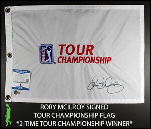 RORY MCILROY AUTOGRAPHED TOUR CHAMPIONSHIP PIN FLAG PGA TOUR BECKETT BAS COA