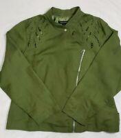 NWT Ashley Stewart MOTO Linen Blend Jacket Olive Green Lined Women's Size 18W