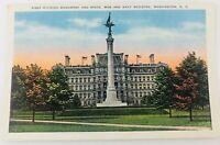 Vintage Washington D.C. First Division Monument & Navy Building Linen Postcard