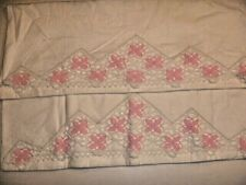 Vintage Set Standard Pillowcases Pink Flowers  Crochet Edge