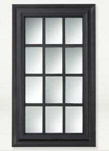 Large Black Window Style Wall Mounted Mirror Room Decor Accessories Modern