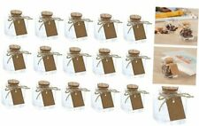 Clear Glass Bottles With Cork Lids 15 Pack Of Mini Transparent Squared Jars