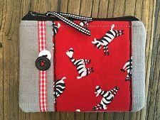 Handmade Fabric Coin Purse Small Make Up Bag Zebra Zoo Animal Gingham Safari