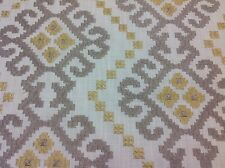 Stout Embroidered Geometric  Upholstery Drapery Fabric- Kavan/Platinum 2.75 yd