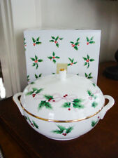 MIKASA RIBBON HOLLY Covered Vegetable Bowl / Casserole Dish - NEW IN BOX!