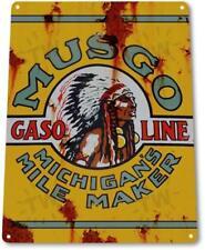 Musgo Gasoline Gas Oil Garage Pump Auto Shop Rustic Gas Metal Decor Sign