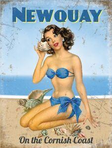 Newquay Beach Pin-up Girl on the Cornish Coast Fridge Magnet