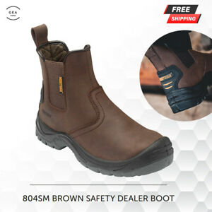 Jcb Leather Safety Work Men Dealer Chelsea Breathable Shoes Boots Steel Toe Cap